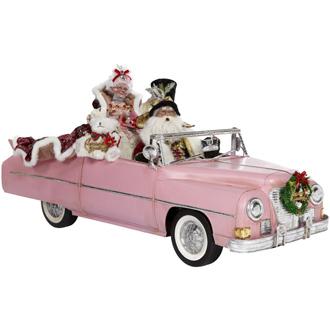Pink Convertible Car Santa & Mrs Claus