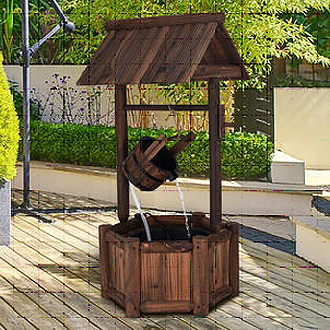 Wishing Well Water Fountain Wooden Outdoor