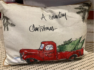 A country Christmas pillow