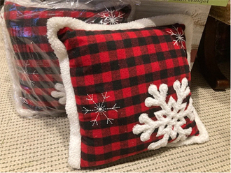 Scottish plaid pillow with snowflakes