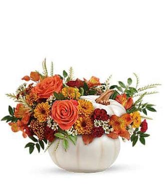 Fall White Pumpkin Centerpiece
