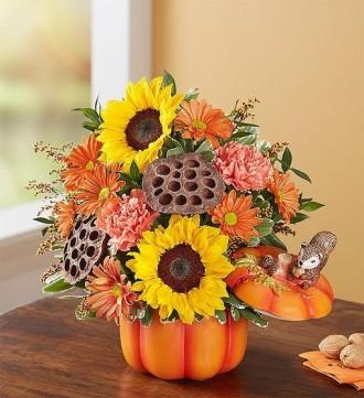 Fall Squirrely Pumpkin Bouquet