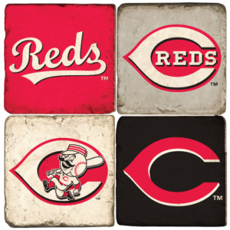 Set of 4 Reds Ceramic Coaster Tiles