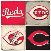 Set of 4 Reds Ceramic Coaster Tiles