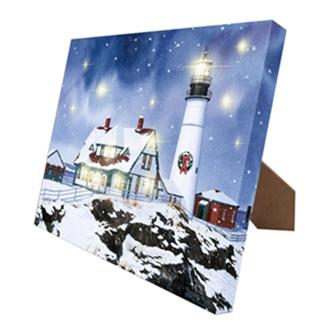 Mr. Christmas Canvas Lighthouse w/ easel