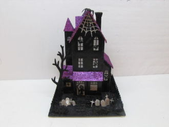 Halloween House w/ Purple Roof Decoration