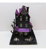 Halloween House w/ Purple Roof Decoration
