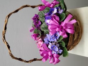 Basket of African Violets
