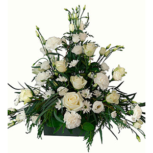 Funeral Arrangement with texted ribbon