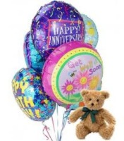 Mrs Flowers Bear and Balloons Bouquet