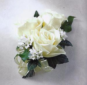 Three White Sweetheart Rose Corsage