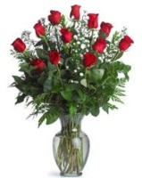Mrs Flowers Dozen Roses With Babies Breath