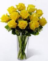 Dozen Yellow Roses Vased
