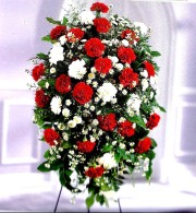 Mrs Flowers Crimson & White Standing Spray