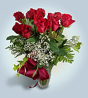 Flowers By Bauers Lux-Line 24 Red Rose Bouquet