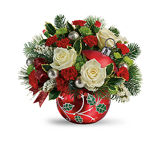 Flowers By Bauers Classic Holly Ornament Bouquet