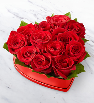 The FTD® Lovely™ Red Rose Heart Box