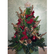 Boxwood Tree Reds & Golds