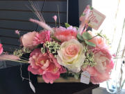 Pink Floral Basket (artificial)