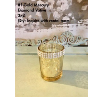 Gold Mercury Diamond Votive 3Hx2
