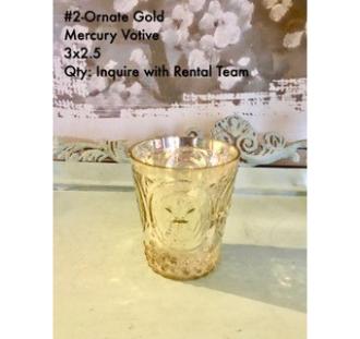 Ornate Gold Mercury Votive 3Hx2.5