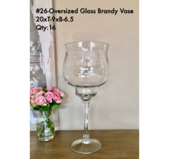 Opulent Glass Brandy Vase 20xT-9xB-6.5