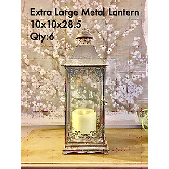 Grand Extra Large Metal Lantern 10x10x28.5