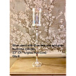 "Lovely Silver Stand with Lace Trim Glass Hurricane or Glass Cylinder 23""H~31""H with Glass Piece"