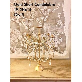 Elegant Short Gold Candelabra 19.5Hx14