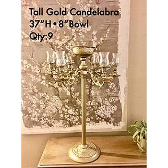 "Exquisite Gold Ornate Candelabra 37H width 8"" Bowl"