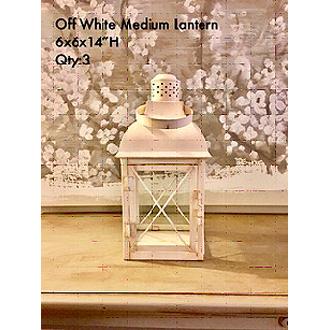"Charming Ivory Medium Lantern 6x6x14""H"