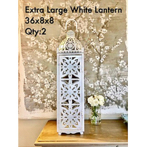 Majestic Extra Tall Metal White Lantern 36x8x8