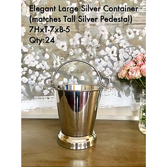 Sophisticated Large Silver Container (Matches Sophisticated Silver Pedestal) 7HxT-7xB-5