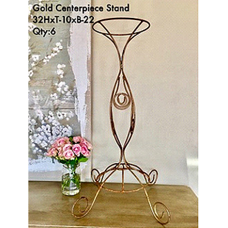 Stylish Gold Centerpiece Stand (Rod Iron)32HxT-10xB-22