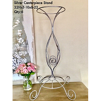 Stylish Silver Centerpiece Stand (Rod Iron)32HxT-10xB-22