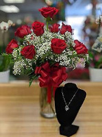 Red Roses and Necklace