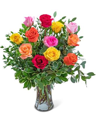 One Dozen Vibrant Roses