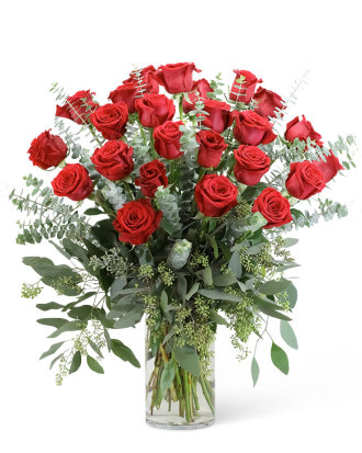 Red Roses with Eucalyptus Foliage - 24