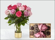 Mother's Day Special: 1 Doz. Long-Stemmed Roses and 1 Doz. Gourmet Chocolate Truffles
