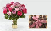 Mother's Day Special:  2 Doz. Long-Stemmed Roses and Gourmet Chocolate Truffles