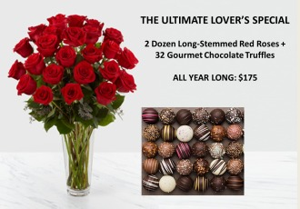 THE ULTIMATE LOVER\'S SPECIAL: 2 DOZ ROSES + TRUFFLES