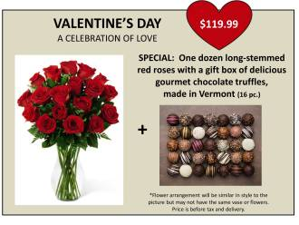 VALENTINE\'S DAY SPECIAL:  2 DOZ ROSES AND TRUFFLES
