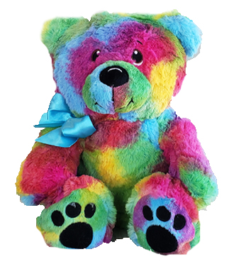 Rainbow Bear  -  An 11 Inch Tie-Dyed Rainbow Plush Bear