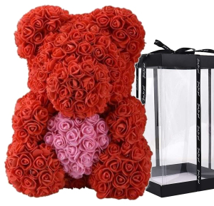 ADORABLE RED WITH PINK HEART WITH LED LIGHTS FOREVER ROSE BEAR