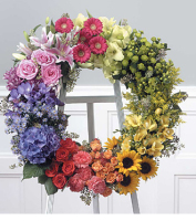 European Clustered Style Wreath on Easel