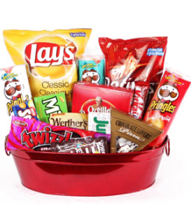 Junk food snack goodie packages for Valentine\'s Day, birthday, anniversary, new baby and get well for a man delivered same day by Sunnyslope Floral