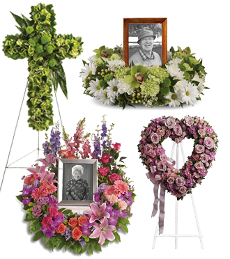 Fresh flower wreath and standing spray sympathy arrangements with same day delivery to funeral homes local and worldwide with Sunnyslope Floral