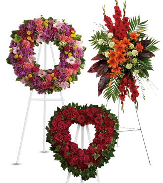 Sympathy spray flower arrangements on easel for same day delivery both local and worldwide with Sunnyslope Floral, your local delivery florist
