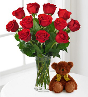 12 Red Roses With Plush Bear