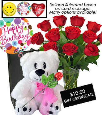 Dozen Roses with SWEET DEAL PKG!   $125 Value For $104.98!